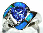 Trillion Tanzanite & Blue Fire Opal Inlay Solid 925 Sterling Silver Ring 6,7,8,9