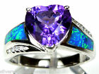 10mm Heart Amethyst & Blue Fire Opal Inlay 925 Sterling Silver Ring Size 6 - 10