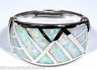 White Fire Opal Inlay Solid 925 Sterling Silver Men's or Women's Ring sz 8 - 9
