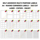 A4 Address Labels Self Adhesive Sticky Sheets Inkjet Copier Laser Printer Office