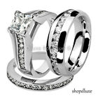 His & Hers 3 Piece Stainless Steel CZ Wedding Engagement Ring Band Set
