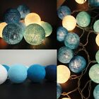 20 Retro Vinatge Christmas Pastel Cotton Ball Patio String Lights Battery Power