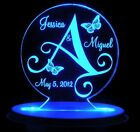 Personalized Wedding Cake Topper Monogram Butterfy Optional LCD Lighted base