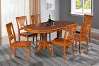 "42""x78"" OVAL DINETTE DINING TABLE SET WITH LEAF WOODEN SEAT IN SADDLE BROWN"