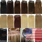 "20"" 100S 200S Remy Human Hair Extensions Easy Loop Micro Ring Bead Tip AAAAAA US"