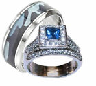 His Hers Blue and Clear Stone Wedding Ring Set Men's Blue Camouflage Band
