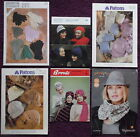 Various Knitting Patterns Hats Gloves Scarves- Please Choose from Drop-down Menu