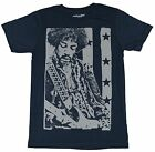 Jimi Hendrix Mens T-Shirt - Stamped Gray Jimi Playing Over American Flag Image
