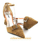 Awesome Pleated Buckle Pointed Toe D'Orsay Pumps Dark Camel Stiletto Heel Shoes