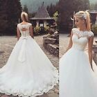 2016 White Ivory Cap Sleeve Ball Gown Lace Wedding Dress Size 2 4 6 8 10 12 14