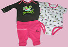 NIKE AIR JORDAN BABY GIRLS PINK 2 BODYSUITS SHIRT PANTS 3PC SET 9 12 MONTHS NEW