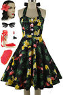 50s Style Miss Mabel BLACK FLAMINGO Palm Tree Pinup HALTER SunDress with BUTTONS