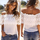 PLUS HOT Cheap Summer Women Casual Shirt Off Shoulder Lace Blouse Girl Tops Tee