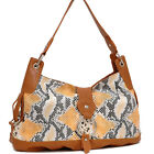 Women Two-Tone Handbag Faux Snake Leather Embossed Shoulder Bag Hobo Bag