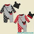 New Baby Boys Girls Mickey Minnie 2 Pieces Set Jumpsuit Romper Beanie Size 0,1,2