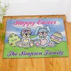 Personalized Happy Easter Doormat Family Name Easter Bunny Family Door Mat