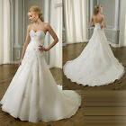 Sweetheart Sleeveless Court Train Applique Bridal Gown White Ivory Wedding Dress