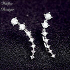 Stunning Ear Climbers Earrings Ear Cuff Arc of Clear Crystals in Silver or Gold