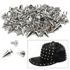 Hot 100 X SPIKES CONE SCREWBACK NICKEL BULLET PUNK RIVET LEATHER BAG CRAFTS