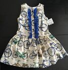 QUINPER Blue & Cream Bicycle Print Traditional Spanish Bow Dress 4 Years