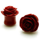 PAIR Body Jewelry Red Acrylic Tunnel Expander Rose Ear Plugs | US SELLER