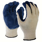 SDI 120 Pairs Natural 10 Gauge Poly Cotton Blue Latex Palm Coated Working Glove