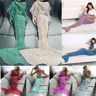 Adult Kids Handmade Mermaid Scales Blanket Teen Sleeping Bag Sofa Woolen Soft AU
