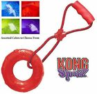 Kong Medium SQUEEZZ RING WITH HANDLE Toss Tug + Fetch Squeaky Dog Toy PICK COLOR