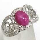LOVELY 2 CT STAR RUBY  925 STERLING SILVER RING SIZE 5-10