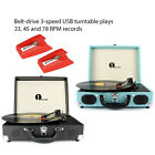 1byone Retro 3 Speed Record Player Vinyl Turntable Portable Briefcase Style