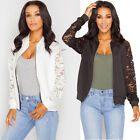New Womens Ladies FLoral Lace Bomber Jacket Ladies Vintage Zip up Biker Coat