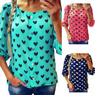 New Fashion Women Lady Casual Cotton 3/4 Sleeve Dots Loose Shirt Blouse Tops