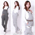 Maternity Overalls Pants Pregnancy Dungarees Cute Deers Light/Dark Gray M L