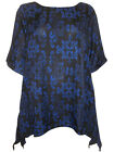 eaonplus Blue SCROLL Print WATERFALL Kaftan Tunic Top PLUS SIZES 18/20 - 30/32