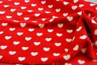 QUALITY Printed Anti Pil Polar Fleece Fabric Material - RED WHITE HEARTS