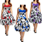New Cotton Flower Print Vtg 50s Pinup Party Swing Prom Dress S/M/L/XL/XXL