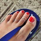 2PCs Women Celebrity V- Pattern Toe Ring Adjustable Foot Beach Jewelry - Various