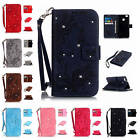 For Huawei Ascend P9 Lite Jewel Flower Leather Lush Card Wallet Case Strap Cover
