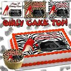 Purse Edible Cake topper birthday cheetah leopard skin Shoe print sugar paper