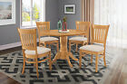 "ROUND TABLE DINETTE KITCHEN DINING ROOM SET W/. 9"" LEAVES IN OAK FINISH"