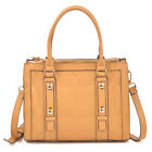 New Dasein Women Belted Medium Leather Satchel Tote Bag Purse For Everyday Use