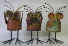 Wise Rustic Metal Owl Garden Ornament on Spring Hear, See and Speak No Evil