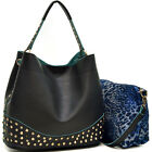 New Women Handbag Shoulder Bag Faux Leather 2 in 1 Satchel Hobo Bag with Studs