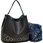 New Women Leather Handbag Shoulder Bag 2 in 1 Satchel Hobo Bag Purse w/ Studs