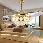 LED crystal invisible ceiling fan light modern restaurant fan chandelier lamp
