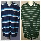 CHAPS Men's Knit Polo Striped Shirt Size XL XXL Green White Blue Turquoise NWT