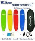 Billow Surf School 8' Soft Surfboard Package 8ft Soft Board+Bag+Fins+Legrope+Wax
