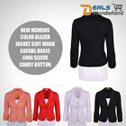 Womens Work Casual  Blazer Jacket Suit Basic Long Sleeve Candy Button New
