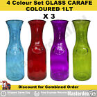 4 Colour set GLASS CARAFE COLOURED 1Litre Transparent Jug Bottle Promotion Decor