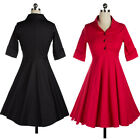 Women 50s Retro Short Sleeve Swing Vintage Cocktail Party Ballgown Tunic Dress